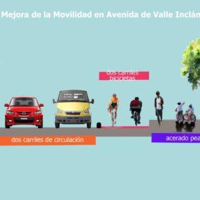 Aceras, carril-bici y arbolado en la Avenida Valle Inclán